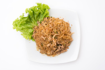 Larb vermicelli or Spicy Vermicelli.Traditional Thai food