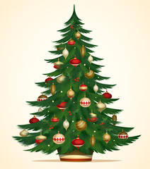Christmas tree card. Vector illustration
