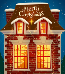 Christmas decorated house. Greeting card