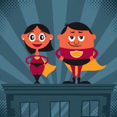 Superhero Couple Cartoon