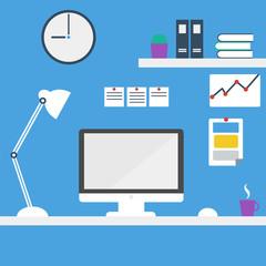 Office workstation. Computer desk.