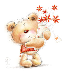 Teddy bear with the red flowers. Love design