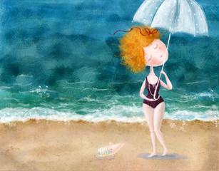 Cute red-head girl with umbrella and little pig on the beach.