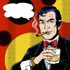 Pop Art Man with glass smoking  cigar and with speech bubble.