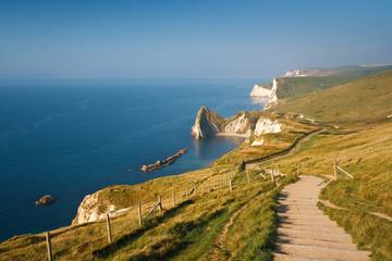 Coast path along Jurassic Coast in Dorset, UK.
