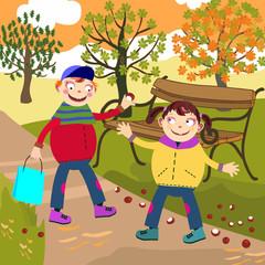 dzieci zbierają kasztany