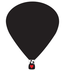 Lovers Hot Air Balloon Silhouette