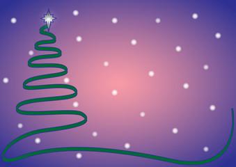 Christmas Ribbon Tree Blue with Snow