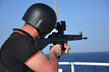 armed guard on board sea going vessel in aden gulf