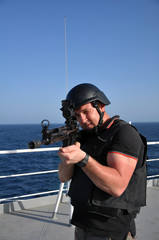 armed guard on board sea going vessel in aden gulf