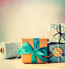 Light blue handmade gift boxes
