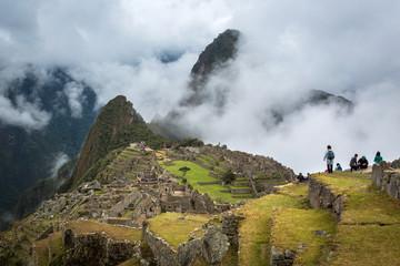 MACHU PICCHU, PERU - SEPTEMBER 12: Unknown people on Machu Picch