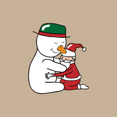 Hug Christmas Snowman and Santa