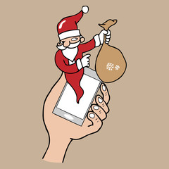 Notification pop up phone Santa cartoon