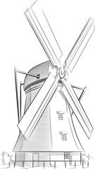 Sketch of Dutch Landmark - Windmill
