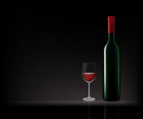 Bottles of red wine in dark background