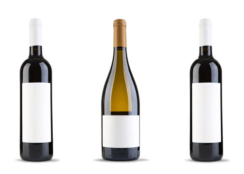 Three wine bottle on white background