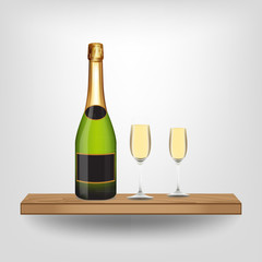 Champagne bottle and glass on wood shelf