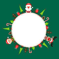 Round Frame Santa, Rudolph & Elf Symbols Green