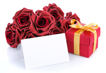 blank card with red flowers and gift