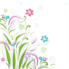 Floral background with butterfly