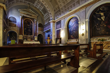 Inside Saint Sebastian church in Rome, Italy