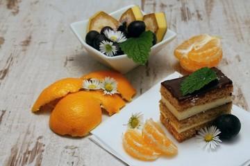 Dessert and mandarin