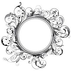 Ornamental circle swirl frame,black and grey