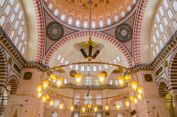 Interior decoration of Suleymaniye Mosque , Istanbul
