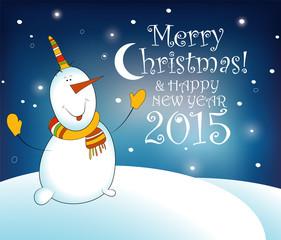 Christmas card with snowman. EPS 10 vector illustration