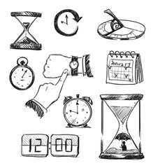time symbols. Time icons. Vector illustration.