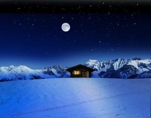 Wall Mural - Schihütte bei Mondschein im Gebirge