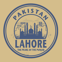 Stamp or label with text Lahore, Pakistan inside