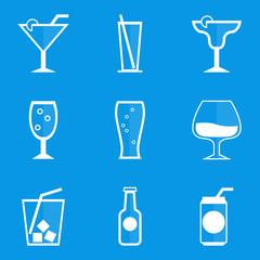 Blueprint icon set. Drink. Cocktail