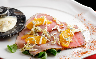 Appetizer - Tuna Carpaccio with Parmesan Cheese, Herbs