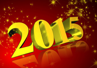 2015 in 3D on red background
