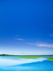 Blue and Green Idyllic View