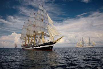 Sailing vessel. Collection of ships and yachts