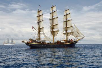 Sailing ship. Collection ships and yachts