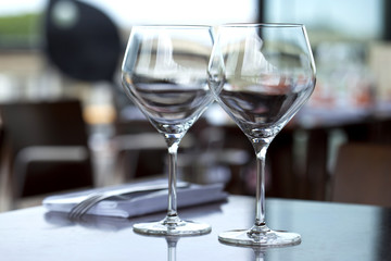 Glasses on a table in a restaurant