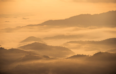 The mountain covered by the mist in the morning, Thailand