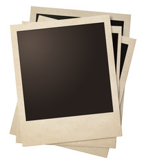 polaroid retro photo frames stack isolated