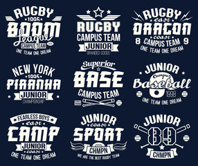 Baseball and rugby college team sport emblems