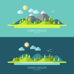 Zelfklevend Fotobehang Groen blauw Flat design nature landscape