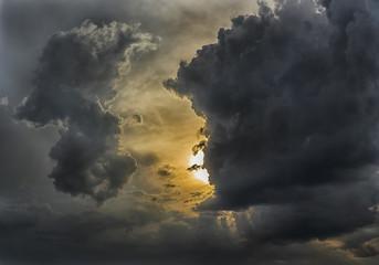 Dramatic cloudy sunset