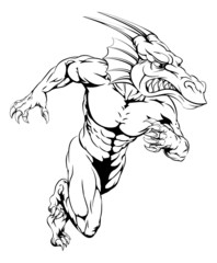 Dragon sports mascot running