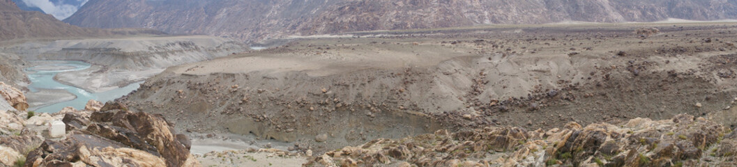 Panoramic view of Confluence of Indus and Gilgit Rivers ,Norther