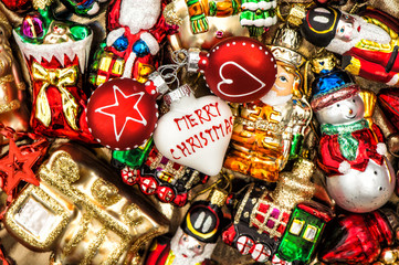 colorful christmas baubles, toys and garlands. vintage decoratio