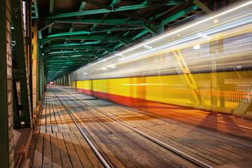 Tram Light Trail at Bridge in Warsaw