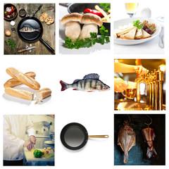 fish cooking food beer muschrooms chesse pan
